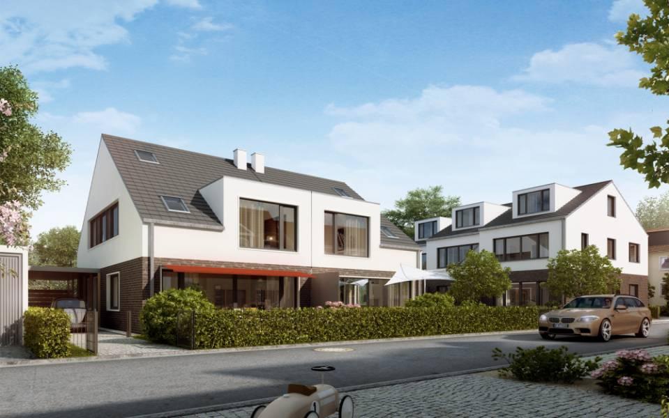 Doppelhaus und Reihenhäuser Köln Rendering