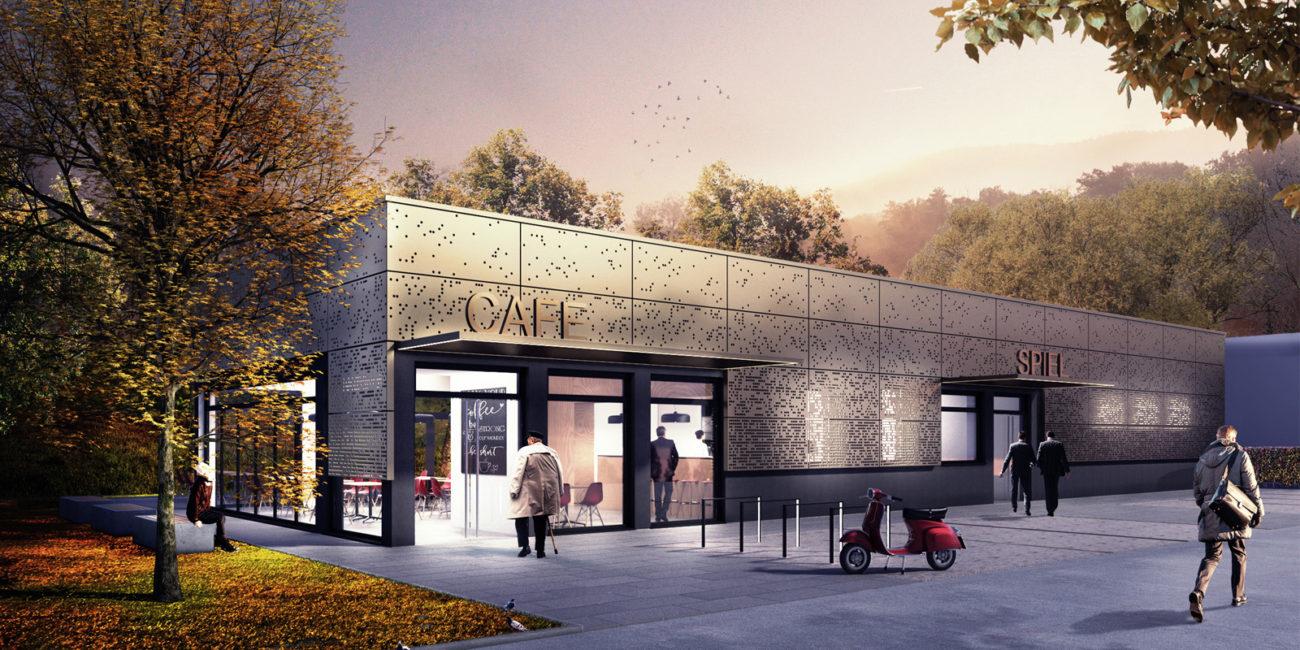 Konzept einer Gewerbehalle mit Cafe (Gewerbebau)