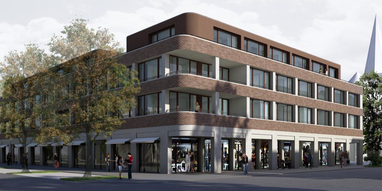 Konzept: Blick auf ein modernes Wohn- und Geschäftshaus.