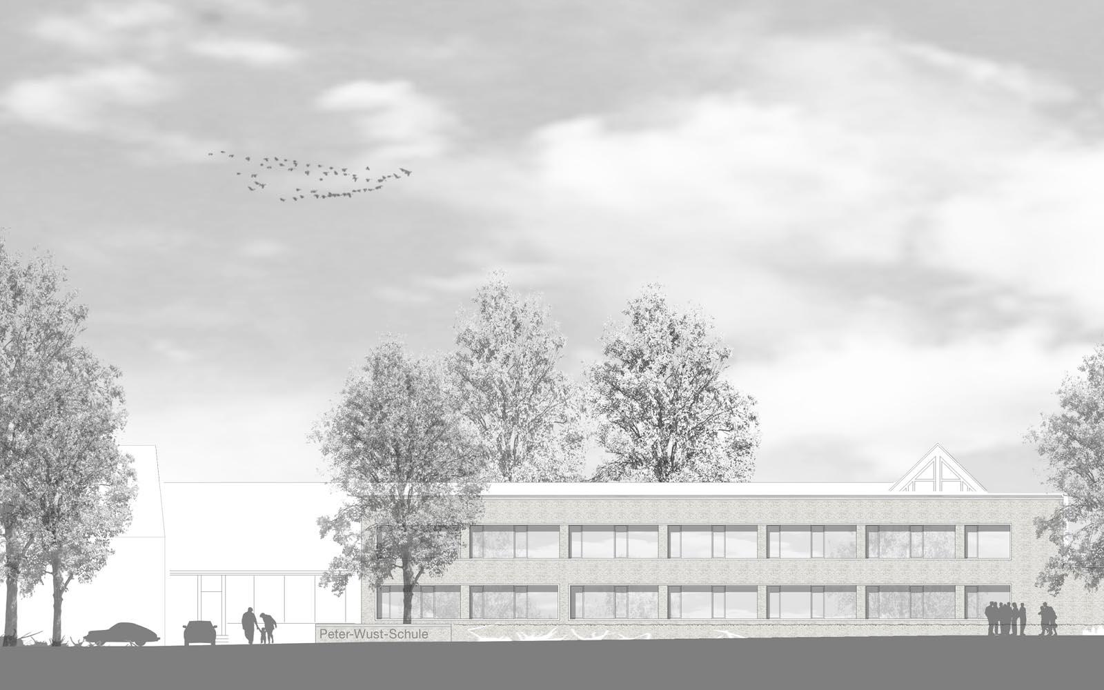Wettbewerb_Peter-Wust_Schule_mit_Sporthalle_Muenster_Ansicht3_Steinweg_Claus_Architekten