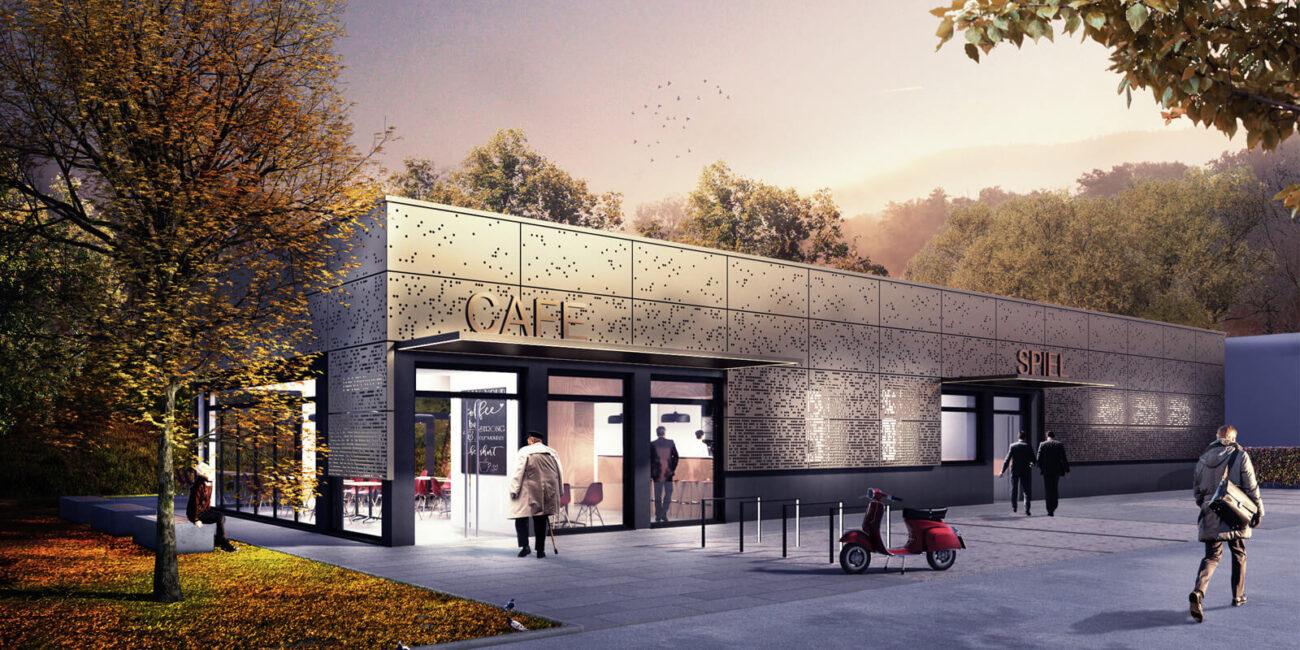 Rendering: Gewerbehalle mit Metallfassade in Freiburg, geplant von Steinweg Claus Architekten