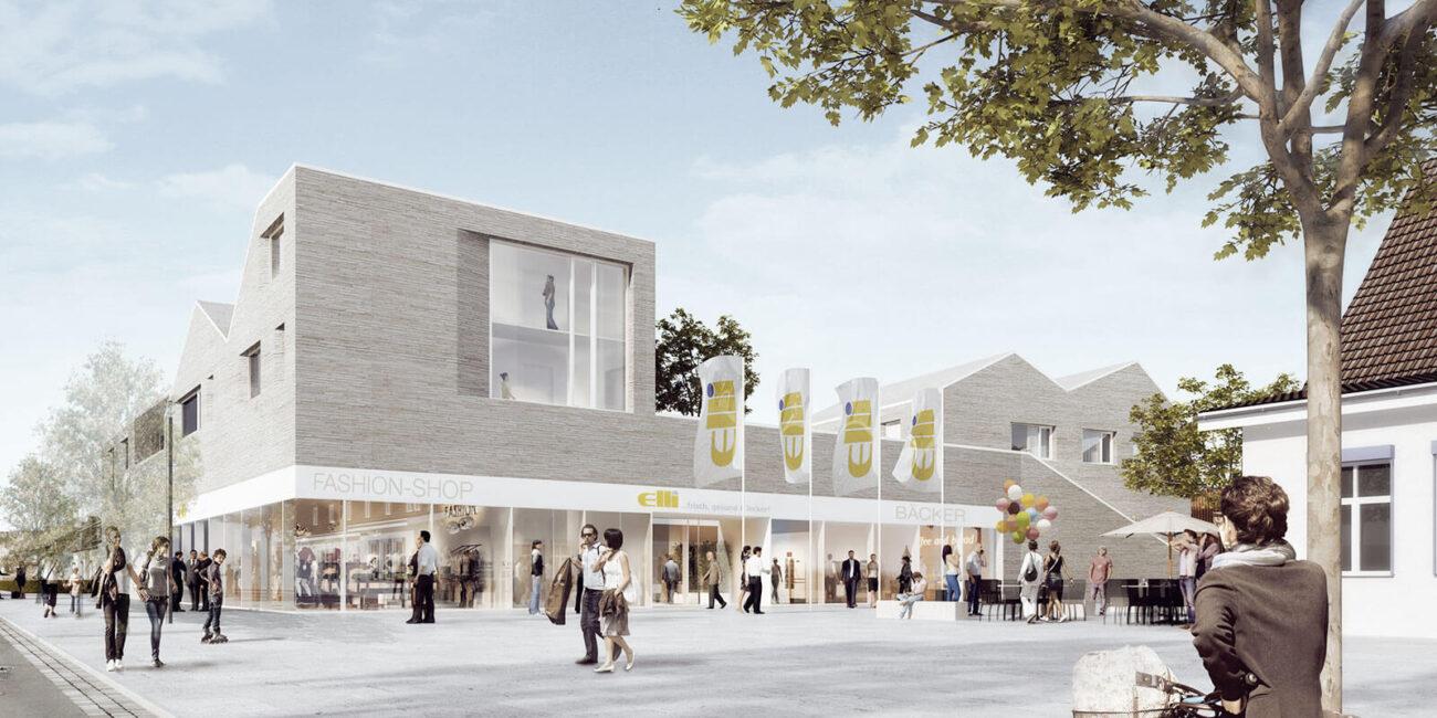 Wettbewerbsbeitrag zum Nahversorger Suerenheide, Gewerbebau, Entwurf: Steinweg Claus Architekten